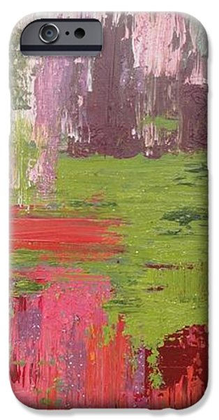 Abstract Seascape iPhone Cases - Abstract Pink and Green iPhone Case by Elizabeth Langreiter