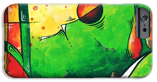 Green Surreal Geometric iPhone Cases - Abstract Pop Art Original Painting iPhone Case by Megan Duncanson