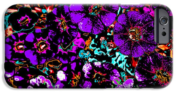 Abstract Digital Photographs iPhone Cases - Abstract Purple Petunia Flowers iPhone Case by Julie Wooden
