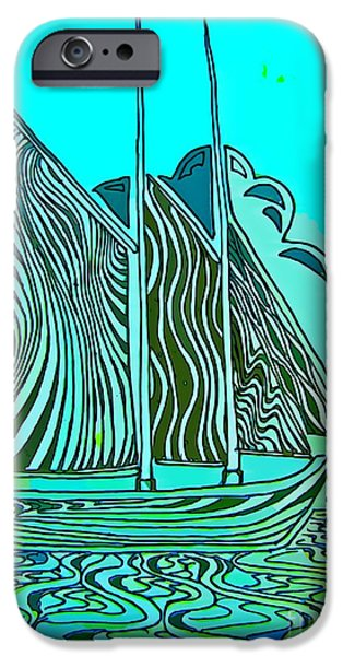 Abstract Digital Drawings iPhone Cases - Abstract Sail Boat iPhone Case by John Malone