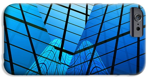 Glass Reflections iPhone Cases - Abstract Skyscrapers iPhone Case by Setsiri Silapasuwanchai