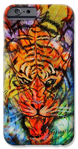 Sheets iPhone Cases - Abstract Spot The Tiger iPhone Case by Arun Sivaprasad