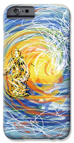 Abstract Digital Drawings iPhone Cases - Abstract Surfer 41 iPhone Case by Robert Yaeger