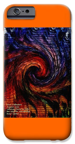 Abstract Digital Pastels iPhone Cases - Abstract Swirl In Oils For Martin And Shirley Rose - Innes V A iPhone Case by Gert J Rheeders