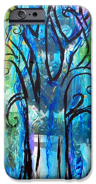 Bathing Mixed Media iPhone Cases - Abstract Tree In Spring iPhone Case by Genevieve Esson