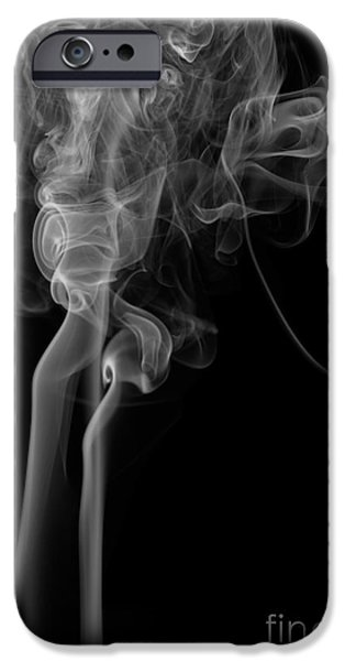 Angels Smoking iPhone Cases - Abstract Vertical Monochrome White Mood Colored Smoke Wall Art 02 iPhone Case by Alexandra K