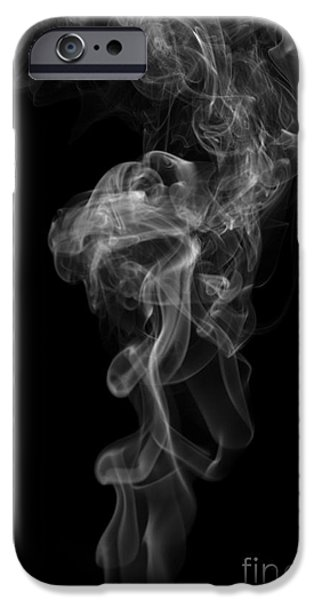 Angels Smoking iPhone Cases - Abstract Vertical Monochrome White Mood Colored Smoke Wall Art 03 iPhone Case by Alexandra K