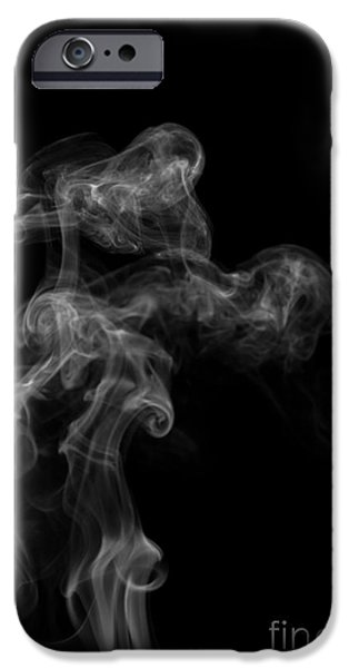 Angels Smoking iPhone Cases - Abstract Vertical Monochrome White Mood Colored Smoke Wall Art 04 iPhone Case by Alexandra K