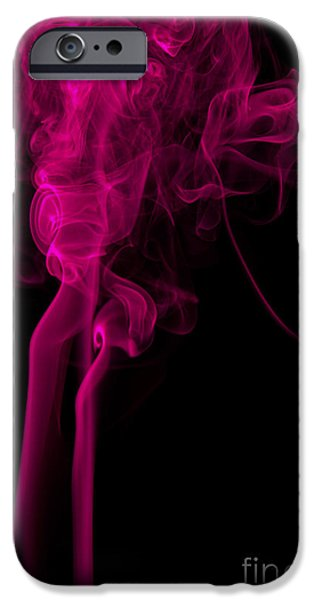 Angels Smoking iPhone Cases - Abstract Vertical Purple Mood Colored Smoke Wall Art 03 iPhone Case by Alexandra K