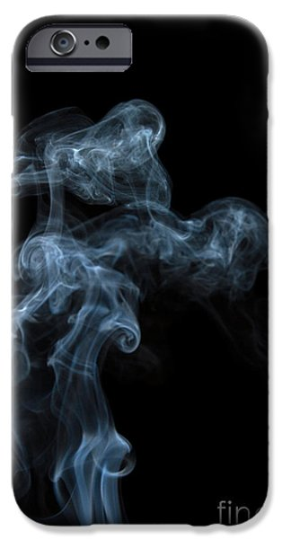 Angels Smoking iPhone Cases - Abstract Vertical White Mood Colored Smoke Wall Art 04 iPhone Case by Alexandra K