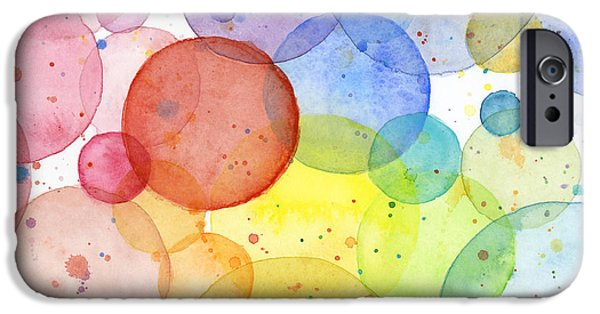 Shape iPhone Cases - Abstract Watercolor Rainbow Circles iPhone Case by Olga Shvartsur