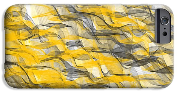 Yellow And Grey Abstract Art iPhone Cases - Abundance iPhone Case by Lourry Legarde
