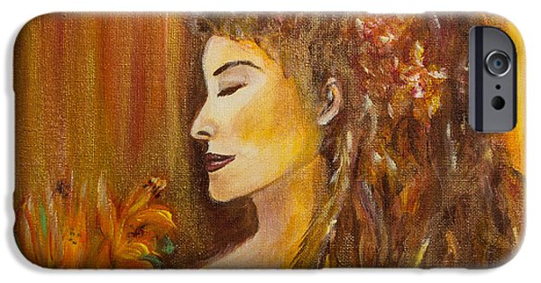 Spiritual Portrait Of Woman iPhone Cases - Abundance iPhone Case by Solveig Katrin