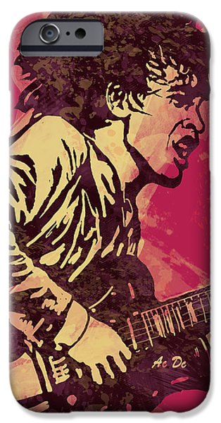 Young Mixed Media iPhone Cases - AC/DC Pop Stylised Art Sketch Poster iPhone Case by Kim Wang