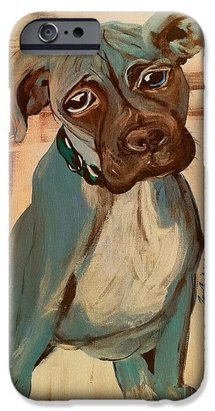 Boxer Digital Art iPhone Cases - Ace iPhone Case by Jennifer Russell