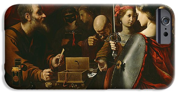 Weapon Paintings iPhone Cases - Achilles among the Daughters of Lycomedes iPhone Case by Pietro Paolini