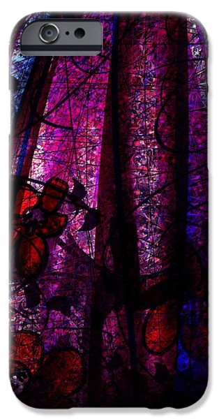 Acid Rain with Red Flowers iPhone Case by Rachel Christine Nowicki