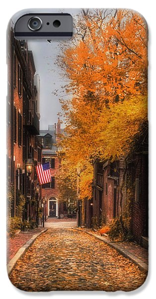 Fall In New England iPhone Cases - Acorn St. iPhone Case by Joann Vitali