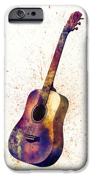 Strings Digital iPhone Cases - Acoustic Guitar Abstract Watercolor iPhone Case by Michael Tompsett