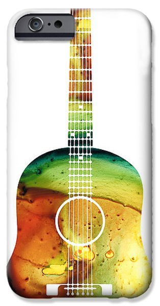 Player Mixed Media iPhone Cases - Acoustic Guitar - Colorful Abstract Musical Instrument iPhone Case by Sharon Cummings