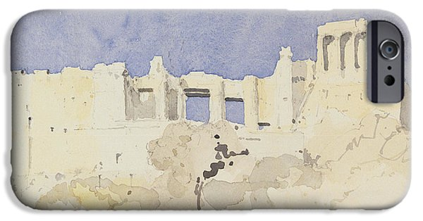 Ruin Drawings iPhone Cases - Acropolis   Athens iPhone Case by Charlie Millar