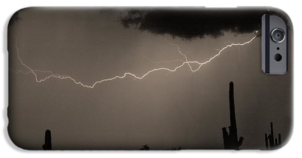 Photography Lightning iPhone Cases - Across the Desert - Sepia print iPhone Case by James BO  Insogna