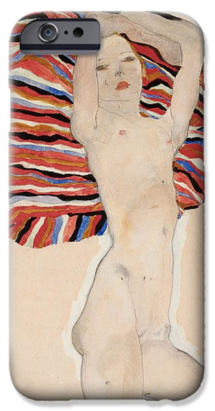 Blanket iPhone Cases - Act Against Colored Material iPhone Case by Egon Schiele