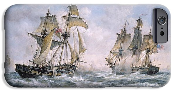 Sailing Paintings iPhone Cases - Action Between U.S. Sloop-of-War Wasp and H.M. Brig-of-War Frolic iPhone Case by Richard Willis