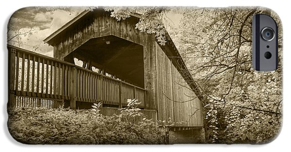 Covered Bridge iPhone Cases - Ada Covered Bridge in Sepia iPhone Case by Randall Nyhof
