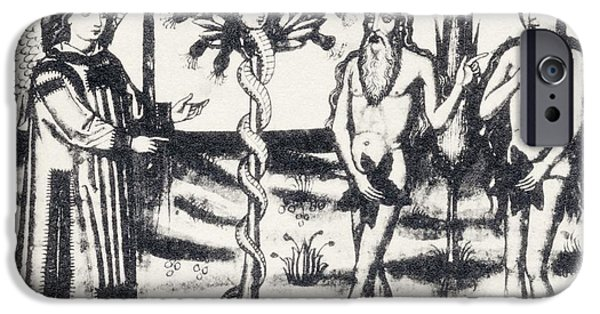 Religious Drawings iPhone Cases - Adam And Eve In The Garden Of Eden iPhone Case by Ken Welsh