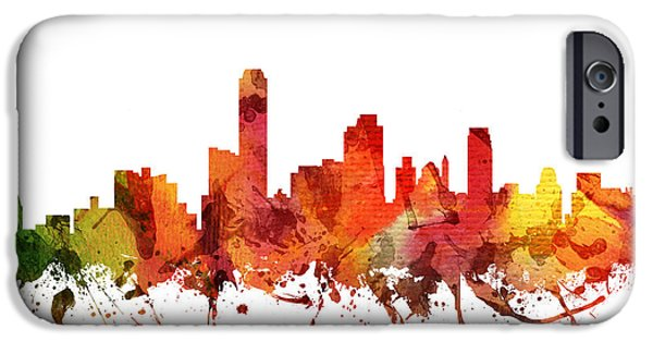 Australia Drawings iPhone Cases - Adelaide Cityscape 04 iPhone Case by Aged Pixel