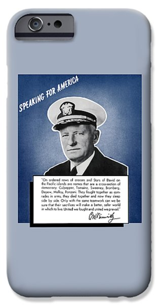 Patriots iPhone Cases - Admiral Nimitz Speaking For America iPhone Case by War Is Hell Store