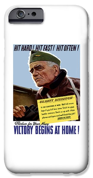 Bulls Mixed Media iPhone Cases - Admiral William Bull Halsey -- WW2 Propaganda  iPhone Case by War Is Hell Store