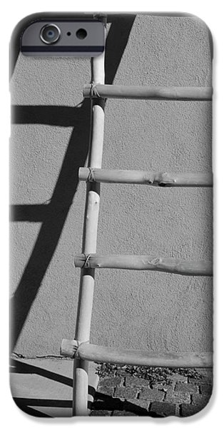 Abstractions iPhone Cases - Adobe Ladder and Shadow Taos NM iPhone Case by David Gordon