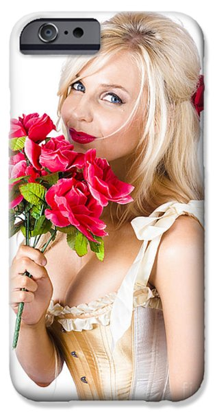 Youthful iPhone Cases - Adorable florist woman smelling red flowers iPhone Case by Ryan Jorgensen