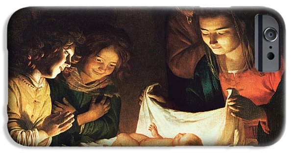 Bible Paintings iPhone Cases - Adoration of the baby iPhone Case by Gerrit van Honthorst
