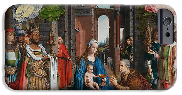 Adoration iPhone Cases - Adoration of the Magi iPhone Case by Jan Gossaert