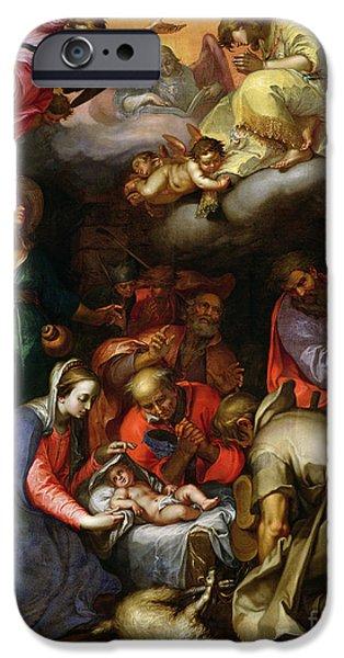 Manger iPhone Cases - Adoration of the Shepherds iPhone Case by Abraham Bloemaert