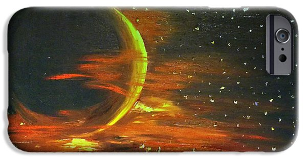 Constellation Paintings iPhone Cases - Adrift - in Space iPhone Case by I F Abbie Shores
