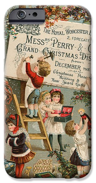 Santa Drawings iPhone Cases - Advertisement for The Royal Worcester Bazaar iPhone Case by English School