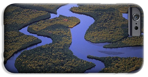 Mangrove Forest iPhone Cases - Aerial image of black mangrove islands in Everglades National Park iPhone Case by Michael Turco