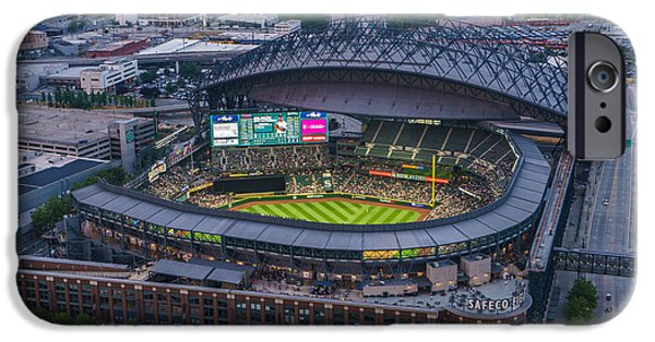 Safeco iPhone Cases - Aerial Seattle Safeco Field Mariners iPhone Case by Mike Reid