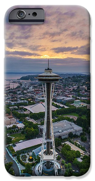 Safeco iPhone Cases - Aerial Seattle Space Needle Sunset iPhone Case by Mike Reid