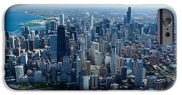 Willis Tower iPhone Cases - Aerial View Of A City, Lake Michigan iPhone Case by Panoramic Images