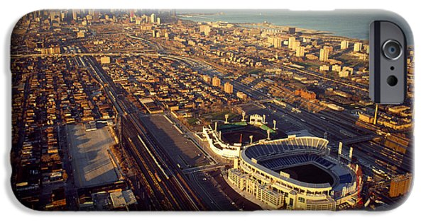 Chicago iPhone Cases - Aerial View Of A City, Old Comiskey iPhone Case by Panoramic Images