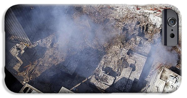 Terrorism iPhone Cases - Aerial View Of The Destruction Where iPhone Case by Stocktrek Images