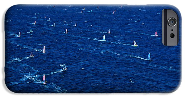 Windsurfer iPhone Cases - Aerial View Of Windsurfer iPhone Case by Erik Aeder - Printscapes