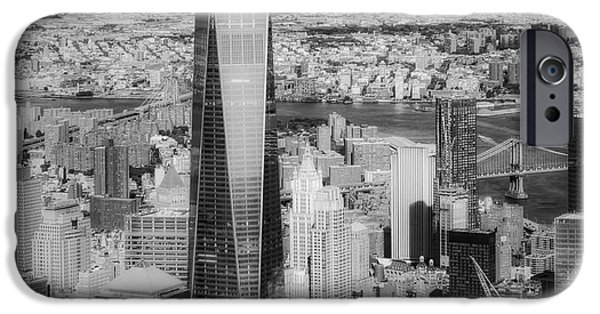 Skyline iPhone Cases - Aerial World Trade Center WTC BW iPhone Case by Susan Candelario