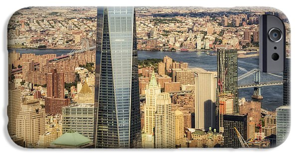 Freedom iPhone Cases - Aerial World Trade Center WTC iPhone Case by Susan Candelario