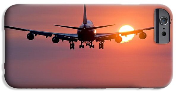 Technological iPhone Cases - Aeroplane Landing At Sunset, Canada iPhone Case by David Nunuk